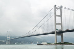 Tsing ma bridge in mist Royalty Free Stock Photography