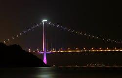 Tsing ma bridge at night Royalty Free Stock Photos