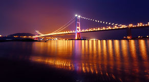 Tsing Ma Bridge at night Royalty Free Stock Photo