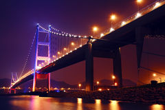 Tsing Ma Bridge at night Royalty Free Stock Image