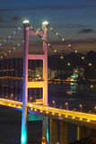 Tsing Ma Bridge at night, close-up. Royalty Free Stock Image