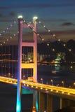 Tsing Ma Bridge at night, close-up. Royalty Free Stock Image