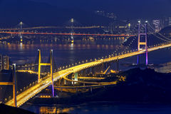 Tsing ma bridge at night Royalty Free Stock Photography