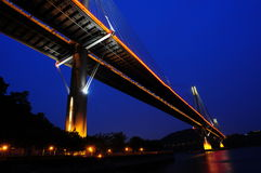 Tsing Ma Bridge night scene Stock Photos