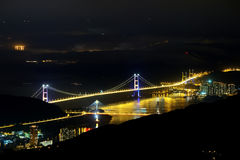Tsing Ma Bridge night view Stock Images