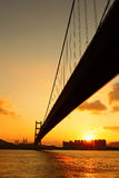 Tsing ma bridge in sunset Royalty Free Stock Images