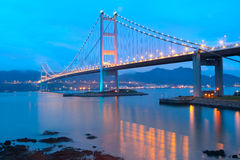Tsing ma bridge sunset Royalty Free Stock Images