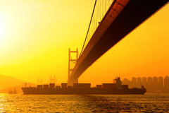 Tsing ma bridge in sunset Stock Photo