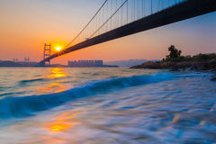 Tsing Ma Bridge at Sunset Royalty Free Stock Photos