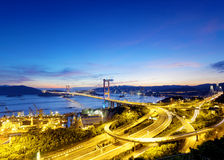 Tsing ma bridge sunset Royalty Free Stock Photo