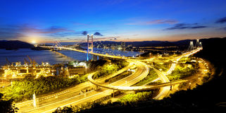 Tsing ma bridge sunset Stock Image