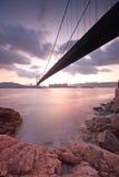 Tsing ma bridge sunset Royalty Free Stock Images