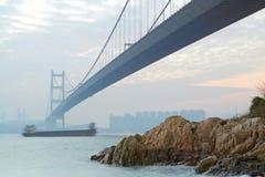 Tsing ma bridge sunset Stock Image