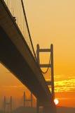 Tsing Ma Bridge at sunset time Royalty Free Stock Photography