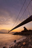 Tsing Ma Bridge at sunset time Stock Images