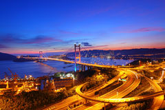 Tsing Ma Bridge at sunset time in Hong Kong Stock Photos