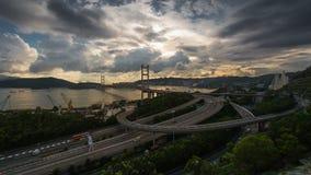 Tsing Ma bridge time lapse. Time lapse shot of Tsing Ma, the longest suspension bridge in Hong Kong stock footage