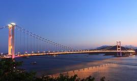 Tsing Ma Bridge at twilight, Hong Kong Stock Photos