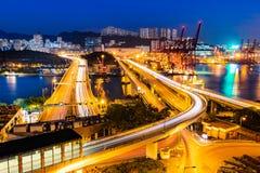 Tsing Yi Bridge & Cheung Tsing Bridge, Hong Kong immagini stock libere da diritti