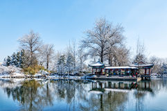 Tsinghua University, Beijing riverside building snow Royalty Free Stock Photo