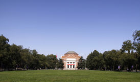 Tsinghua University Hall and the meadow before it. Royalty Free Stock Photos
