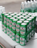 Tsingtao Beer in tin on shelve Stock Photos