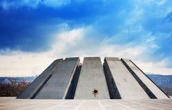 Tsitsernakaberd Är det minnes- komplexet för folkmordet Armenien officiellt minnes- hängivet till offren av det armeniska folkmor Arkivfoton