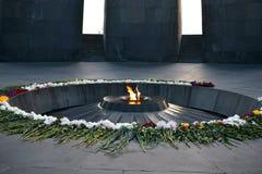 Tsitsernakaberd jest zabytkiem dedykującym ofiary Armeński ludobójstwo zdjęcia stock