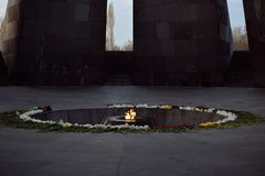 Tsitsernakaberd is a monument dedicated to the victims of the Armenian genocide royalty free stock images