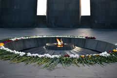 Tsitsernakaberd is a monument dedicated to the victims of the Armenian genocide stock photos