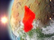 Tsjaad tijdens zonsondergang van ruimte Royalty-vrije Stock Afbeelding