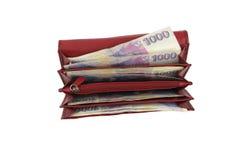Tsjechisch geld in rode portefeuille - duizend Stock Afbeelding