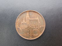 Tsjechisch muntstuk met Brno kathedraal Stock Afbeelding