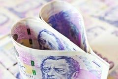 Tsjechisch papiergeld in een vorm van het hart - economie en financiën stock foto's