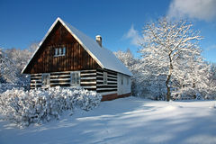 Tsjechisch plattelandshuisje in de winter Stock Foto's