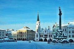 Tsjechisch republiek-Vierkant in stad Trutnov in de winter Stock Fotografie