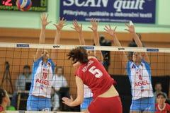 Tsjechisch volleyball - Olymp Praha versus AGEL Prostejov Stock Foto
