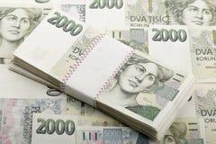 Tsjechische bankbiljetten 5 en 2 duizend kronen Royalty-vrije Stock Foto's