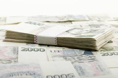 Tsjechische bankbiljetten 5 en 2 duizend kronen Royalty-vrije Stock Fotografie