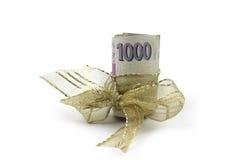 Tsjechische bankbiljetten - geld, gift Stock Afbeeldingen