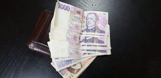 Tsjechische coruna legt op zwarte houten lijst dichtbij bruine portefeuille royalty-vrije stock afbeelding