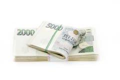 Tsjechische duizend van bankbiljettennominale waarde één en twee kronen Stock Foto