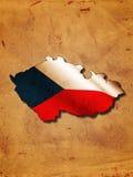 Tsjechische kaart met vlag Stock Fotografie