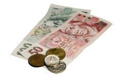 Tsjechische Kroon (CZK) op Wit Royalty-vrije Stock Foto's