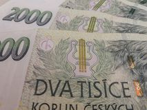 2000 Tsjechische kroonbankbiljetten Royalty-vrije Stock Afbeeldingen