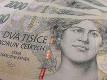 2000 Tsjechische kroonbankbiljetten Stock Afbeeldingen