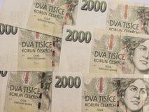 2000 Tsjechische kroonbankbiljetten Royalty-vrije Stock Foto's