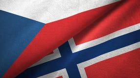Tsjechische Republiek en Noorwegen twee vlaggen textieldoek, stoffentextuur stock illustratie