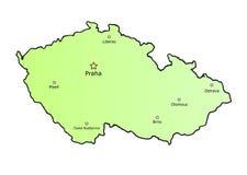 Tsjechische republiekkaart met hoofdsteden Stock Afbeelding