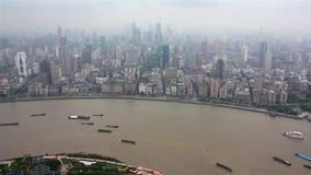 ?tskilliga pr?m som seglar l?ngs floden till och med Shanghai porslin shanghai stock video